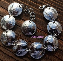 1959 NICKEL CHARM BRACELET! 60th BIRTHDAY GIFT! UNIQUE HANDMADE COIN JEW... - $34.72