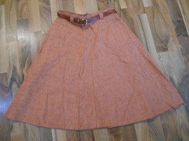 Old Vintage Womens Ladies Skirt Bobbie Brooks Size 11 Orange with Belt W... - $29.99