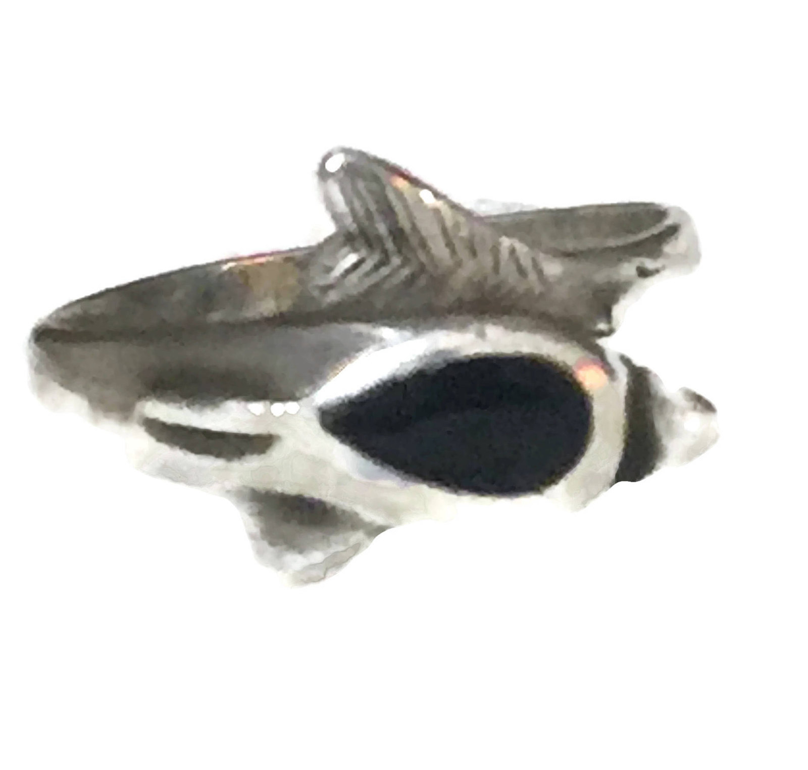 Vintage Dolphin Sterling Silver Handmade Band or Ring  w Black Onyx Size 5.75