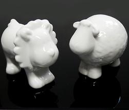 "Porcelain Nursery Figurines Puffy Cloud Lion & Lamb 3"" - $20.00"