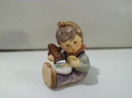 VINTAGE BERTA HUMMEL GOEBEL BOY EATING CHRISTMAS COOKIES PORCELAIN ORNAM... - $18.57