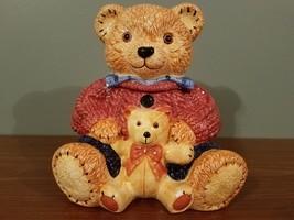 """Vintage Teddy Bear Ceramic Cookie Jar 10"""" Height 9"""" Width - $22.97"""