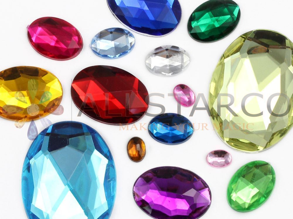 8x6mm Blue Sapphire A09 Flat Back Oval Acrylic Gemstones 100 PCS