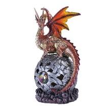 Guardian Reddish Dragon LED Light Ball Home Decor Figurine Handpainted R... - £18.40 GBP