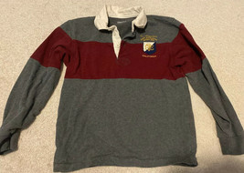 Gap Kids Boys Long Sleeve Gray & Dark Red Rugby Polo Shirt Size Medium - $4.99