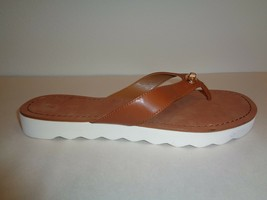 Coach Size 9.5 M SHELLY Saddle Brown Leather Flip Flop Sandals New Womens Shoes - $117.81