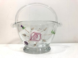 Decorative Heavy Glass Basket with Rose and Flower Design Home Decor - $19.20