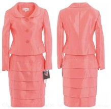 NWT LE SUIT City Blooms Coral Pink Skirt Suit Sz 8 P Petite Spring Easte... - $79.19