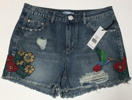 DEX Jean Shorts Embroidered Hummingbird Floral Distressed Sz 28 image 2