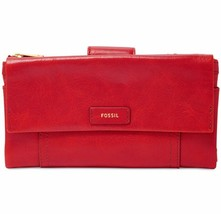 New Fossil Women Ellis Leather Clutch Variety Colors - $72.59