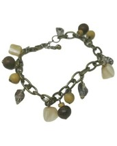 VJ Shell Bracelet Antiqued Gold Dangle Charms Victor Janson for Free Peo... - $15.83