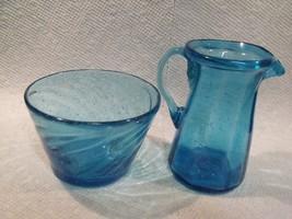 VINTAGE LIGHT BLUE STUDIO BLOWN ART GLASS SUGAR AND CREAMER - $19.80