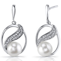Sterling Silver Cultured White Pearl Earrings - $65.99