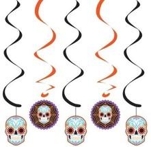Day of the Dead Halloween Skull 5 Ct Dizzy Danglers Hanging Decor - $6.09