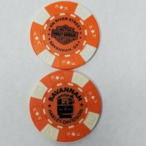 Harley Davidson Poker Chip Savannah H-D, Georgia Orange / White Collectible - $6.78