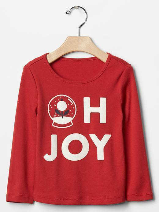 Primary image for Gap Baby Girls Tee Top  Sz 5 Red Graphic Christmas Long Sleeve Sparkling Cotton