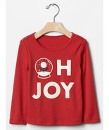 Gap Baby Girls Tee Top  Sz 5 Red Graphic Christmas Long Sleeve Sparkling... - $13.85