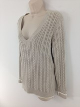 Tommy Hilfiger Womens M Lt Tan Cable Pullover V Neck Cotton Sweater - $8.42