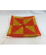 Vintage Red Yellow Art Glass Square Dish Plate - $39.99