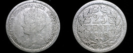 1918 Netherlands 25 Cent World Silver Coin - $6.49