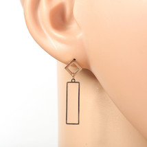 Trendy Rose Tone Designer Drop Earrings with Dangling Cut-Out Geometric ... - $14.99