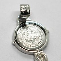 SOLID 18K WHITE GOLD KEY PENDANT, SAINT BENEDICT MEDAL, CROSS, 1.2 INCHES image 6