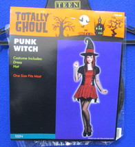 Punk Witch Hat Halloween Costume Accessory Black w/ Red Plaid NOS Totally Ghoul - $8.90