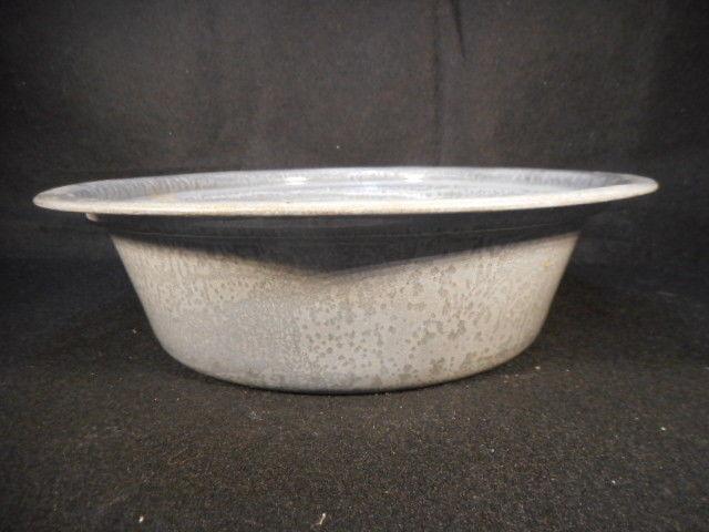Vintage Gray Enamelware Graniteware Strainer Colander Pan