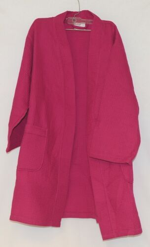 Mirko Thigh Length Waffle Weave Kimono Robe One Size Hot Pink