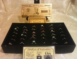 <US SELLER>25Pc.MIXED Size & Style RINGS+MINT GOLD$100K Banknote W/COA~ US - £21.41 GBP