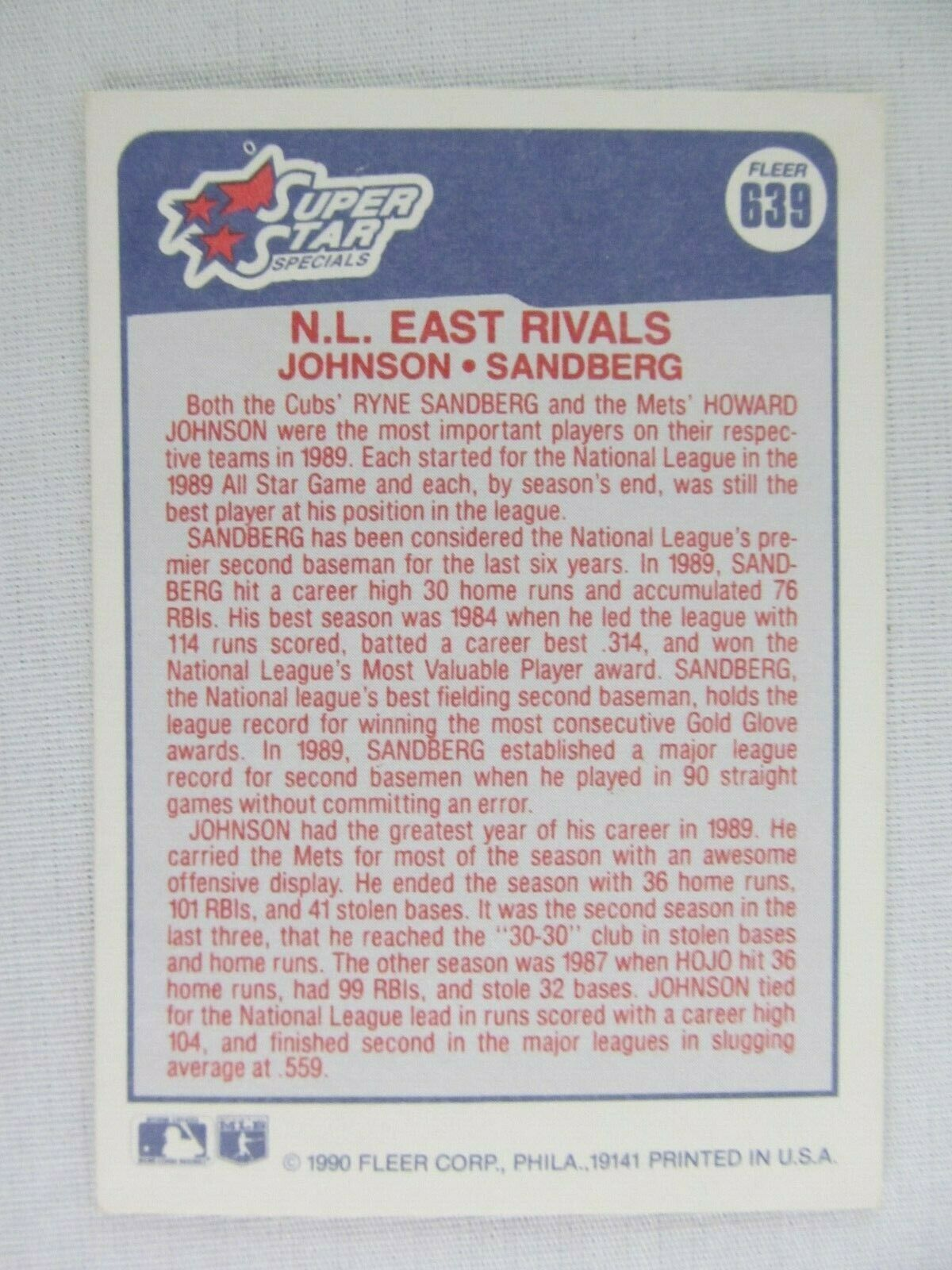 Howard Johnson Ryne Sandberg Rivals 1990 Fleer Baseball Card Number 639