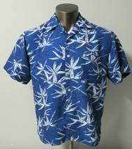 Mens Joe Marlin Short Sleeve Button Front Shirt Hawaiian Floral Blue Whi... - $24.74