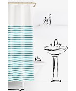 Kate Spade Harbour Stripe Turquoise Aqua on White Shower Curtain - $40.00