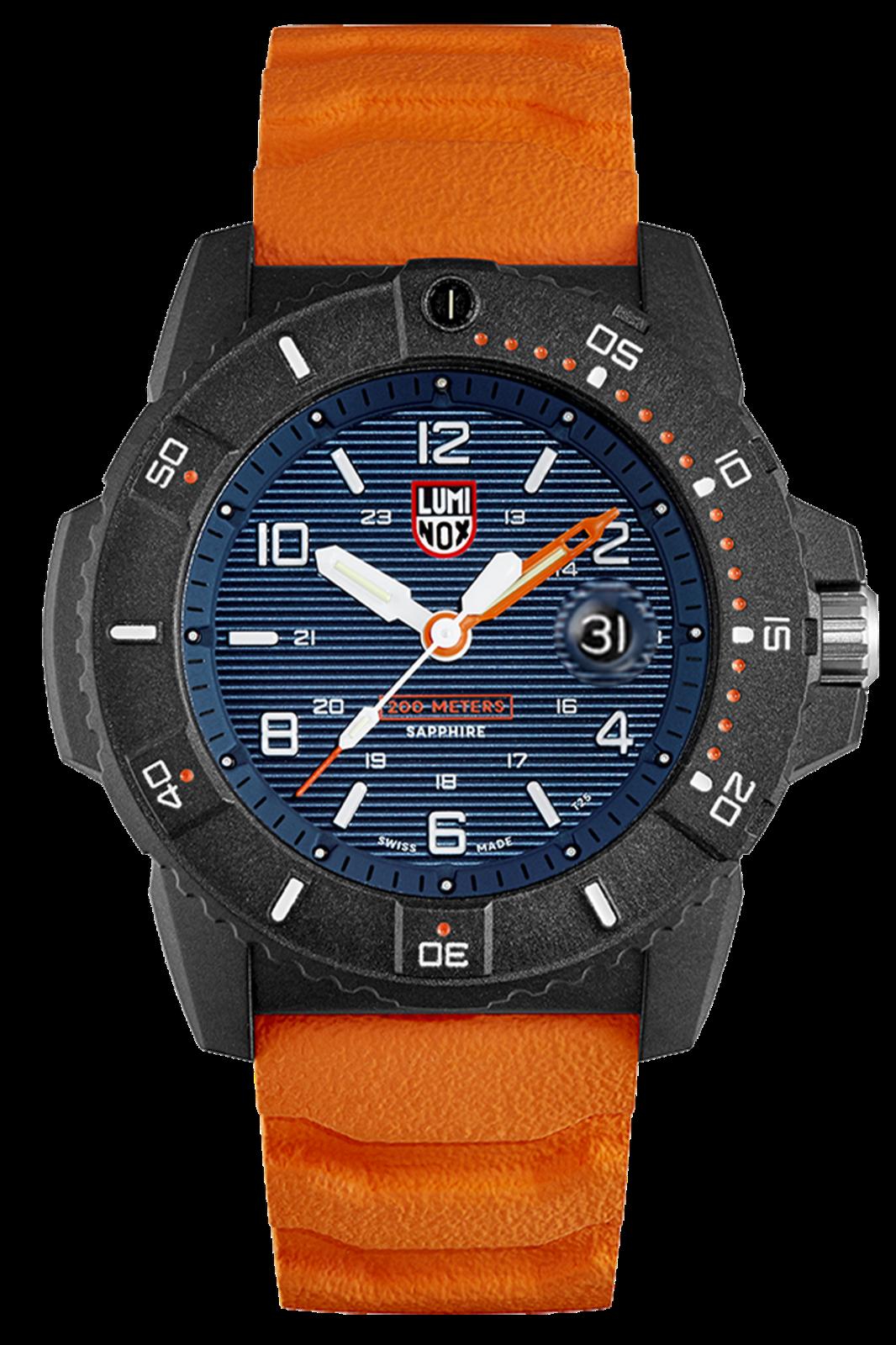 Luminox 3603 Navy Seal Men's Orange Rubber Strap Blue Dial 45mm Case Watch
