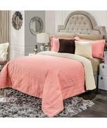 Pink Comforter set shams Luxury Bedding Blanket with sherpa KING - $137.56