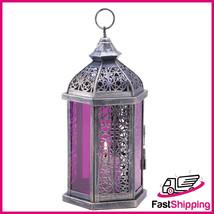 Purple Glass Pane PEWTER FINISH ENCHANTED CANDLE LAMP - $27.94