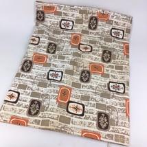 "48"" X 3.3 Yards Vintage 1957 Fabric Mid Century Modern Orange Brown Mod ... - $46.52"