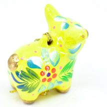 Handcrafted Painted Ceramic Yellow Pig Confetti Ornament Made in Peru image 4