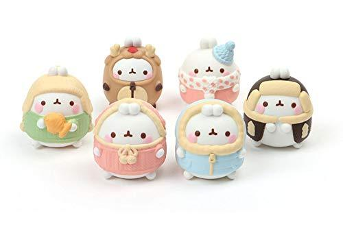 Molang The Happy Rabbit Miniature Figures Figurines Toy Winter Edition Set 1.96""