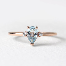 925 Sterling Silver Natural Fine Quality Pear Shape Aquamarine And Cz Gemstone R image 1