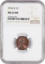 1916-D 1c NGC MS63 RB - Lincoln Cent - $242.50