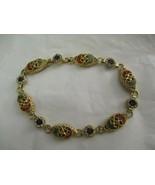"Vintage Micro Mosaic Link Bracelet 8"" Gold Tone  - $29.69"