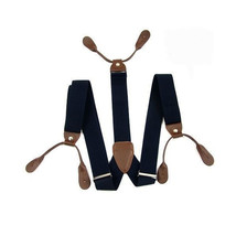 Navy with Brown Unisex Braces Adjustable with Button Holes - UK Seller - $7.03