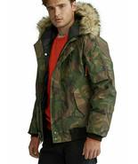 Polo Ralph Lauren Men Fur Trim Down Aviator Bomber Jacket Green Camo XL ... - $259.99