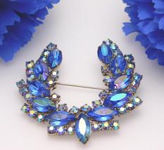 Vintage Juliana D&E Brooch Blue AB Aurora Borealis Rhinestone Horseshoe ... - $74.95