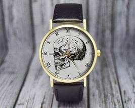 Vintage Human Skull Watch | Illustration | Leather Watch | Ladies Watch ... - $20.00