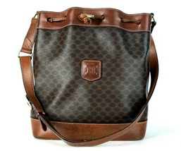 Authentic CELINE Macadam PVC Canvas, Brown Leather Drawstring Shoulder B... - $98.01