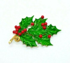 WEISS Gold Tone Red Green Enamel Christmas Holly Berry Wreath Brooch - $34.64