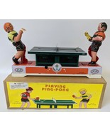 Retro Style Tin Lithographed Wind-up Table Tennis Toy #MS358 in Box - $25.00