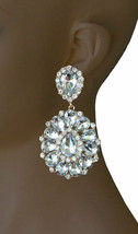"3.25"" Long Cluster Clip On Earrings,Clear Rhinestones,Drag Queen, Pagean... - $18.95"